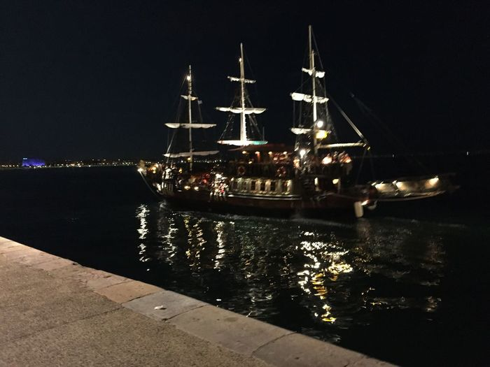 Pirate Ship Greece Thessaloniki Port  Night Lights City Life