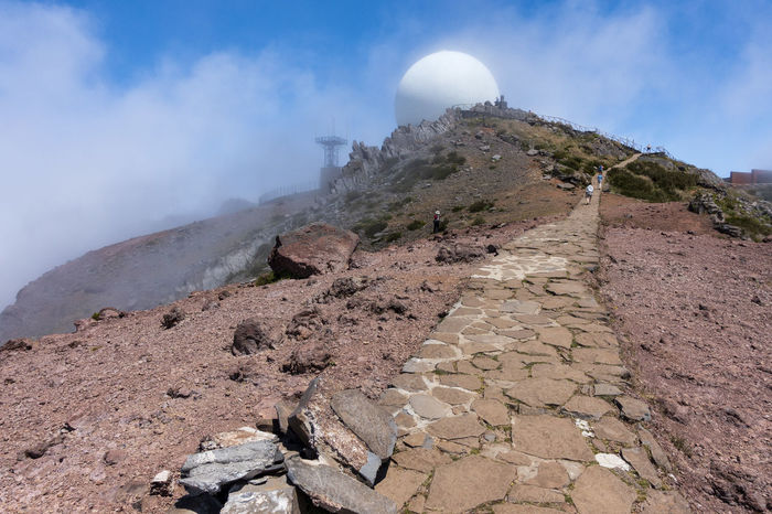 Pico do Arieiro Madeira Portugal Clear Blue Sky Pico Do Arieiro Madeira Point Of Interest Portugal Trekking Clouds Europe Landscape Mountain Mountain Peak Mountain Range Mountains Outdoors Pathway Radar Station Real People Scenics - Nature Stones Summerly Track Volcanic