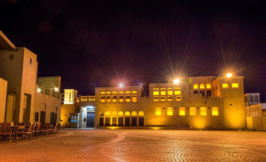 Illuminated buildings at night