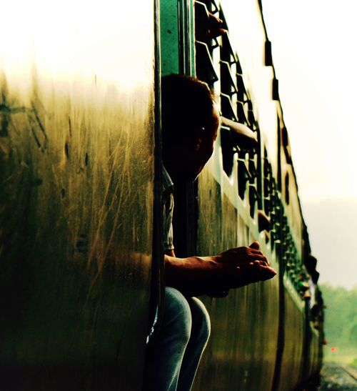 Close-up of man in train