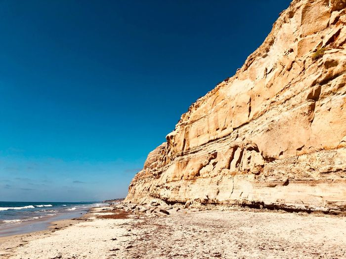 Torrey Pines State Beach Sky Beauty In Nature Beach Sea Tranquility Scenics - Nature Land Nature Water Sand Rock Idyllic Outdoors Clear Sky Tranquil Scene No People Day Blue Copy Space Sunlight