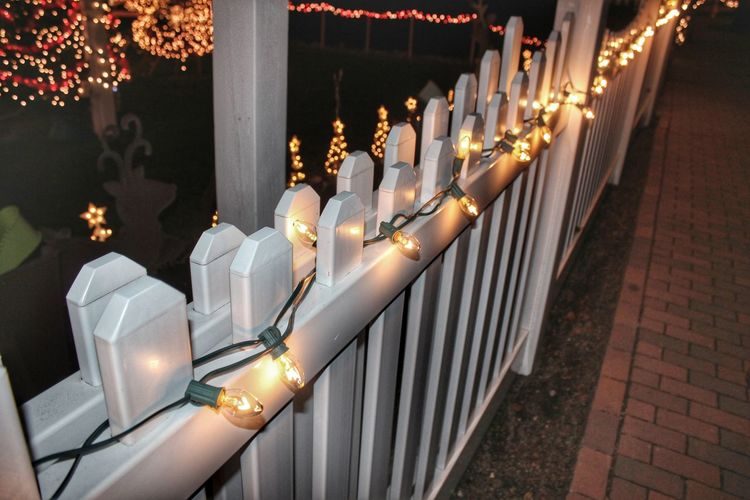 Luxury Indoors  No People Christmas Decorations Christmas Lights Christmas Around The World Fence Christmas Time Christmas Ornaments Illuminated Light lit fence
