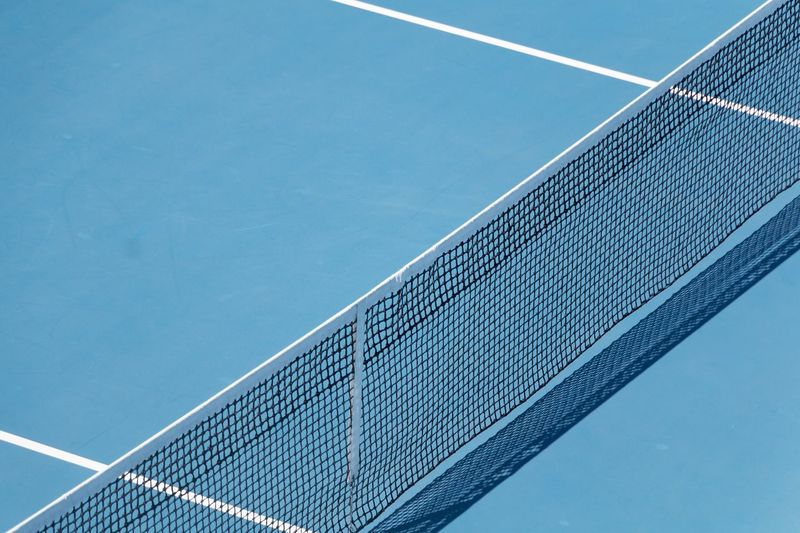 High angle view of tennis net at court