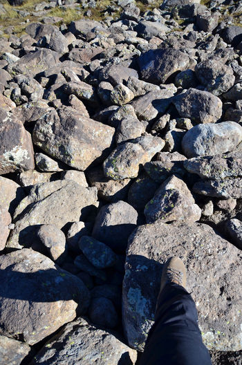 Aragat Armenia Hiking September Adventure Body Part High Angle View Human Body Part Human Foot Human Leg Land Low Section Mount Aragat Nature One Person Outdoors Personal Perspective Rock Rock - Object Solid Stone Stone - Object Sunlight Travel Destination W-armenien