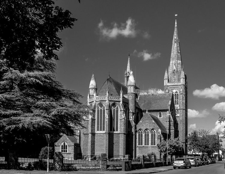Saint Mathew's Church from Collingwood Road, Northampton Black And White Northampton Chuches Monochrome