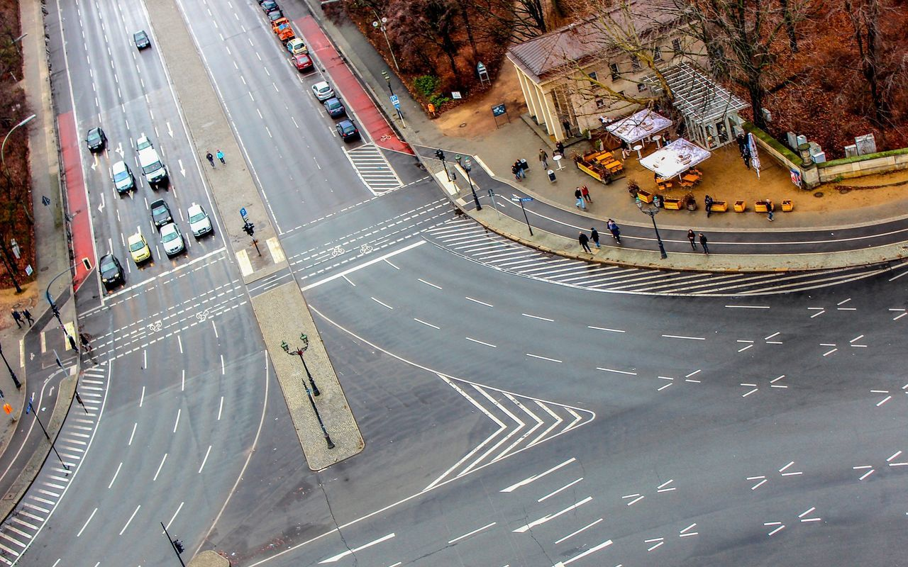 High angle view of city street with markings