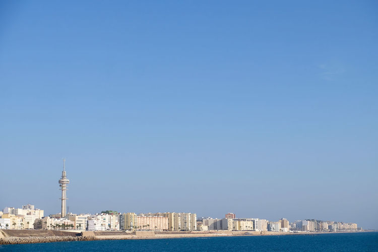 Wide angle view of Cadiz with copy space Andalucía Andalusia Architecture Cadiz Copy Space Hot SPAIN Skyline Beach Blue Blue Sky Buildings City Beach City Near Sea Summer Tower Wide Angle