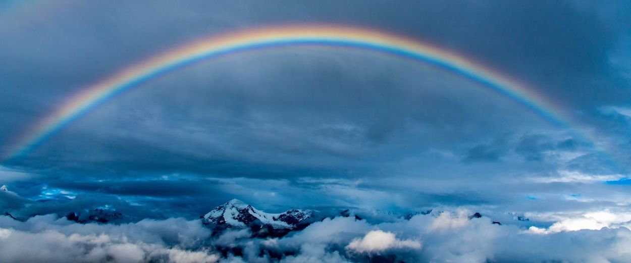 Rainbow Cloud - Sky Weather Double Rainbow Beauty In Nature Sky Nature Scenics Outdoors Tranquility Idyllic No People Multi Colored Day Natural Phenomenon Cold Temperature Snow Spectrum Bubble Wand Nikon D750