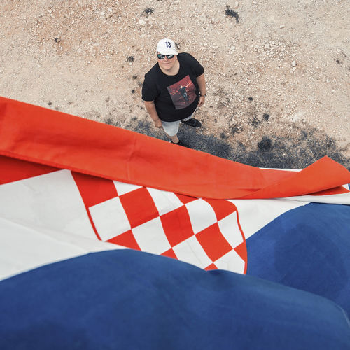High angle view of man standing on land