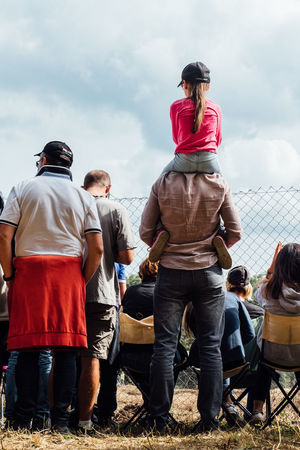Adult Sport Togetherness Men Full Length People Adults Only Leisure Activity Only Men Outdoors Sky Day Volunteer Fan - Enthusiast Stadium Unity Young Adult Teamwork Father And Daughter EyeEm Selects Spectator Caring Shoulders