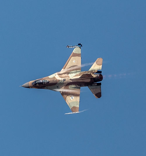 Air Force Air Vehicle Airplane Aviation Blue Blue Sky Clear Sky Day F-16 Fighter Plane Fighting Falcon Flight Flying General Dynamics IAF Israeli Air Force Low Angle View Military Military Airplane Mode Of Transport Outdoors Sky Transportation Vapor Trail