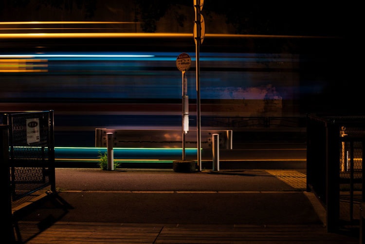 Blurred motion of bus at busstop