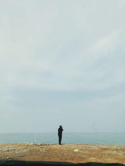 Water Sea Full Length Beach Men Sand Silhouette Rear View Horizon Sky Shore Pebble Beach Ocean Tide Low Tide