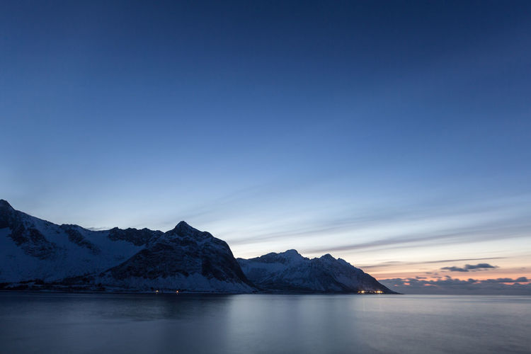 Arctic Beauty In Nature Blue Blue Hour Copy Space Distant Evening Evening Sky Horizon Over Land Landscape Majestic Mountain Mountain Range Mountains Non-urban Scene Ocean Outdoors Remote Scenics Sea Seascape Tranquility Winter Northern Norway Colour Of Life