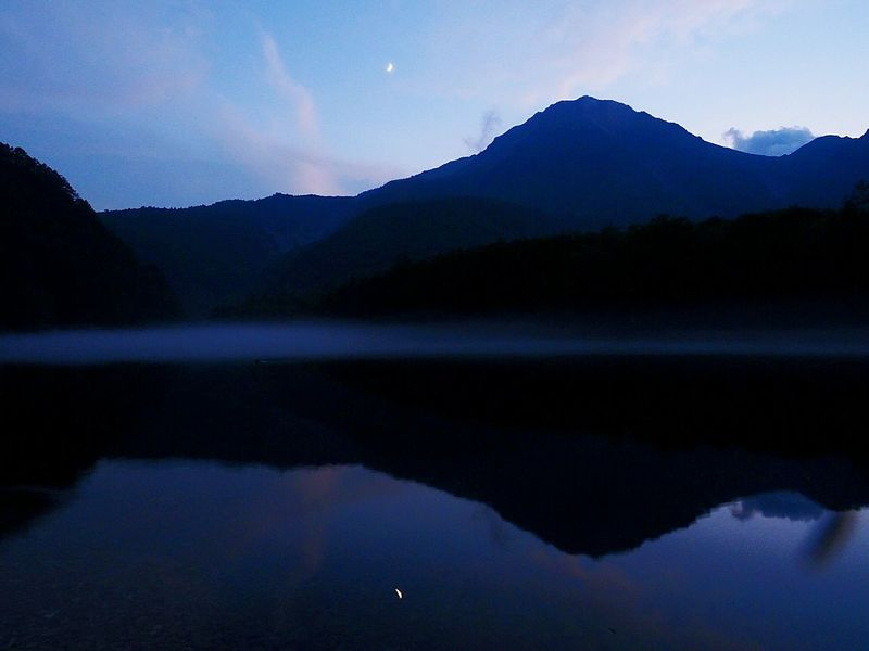 Mt,Yake Taishoike Lakeside Evening View Lake Surface, Such As A Mirror Crescent Moon Reflected On The Surface Of The Lake Surface Of A Lake That Clear Evening Mist View Of Yake From Taishoike Kamikouahi Japan