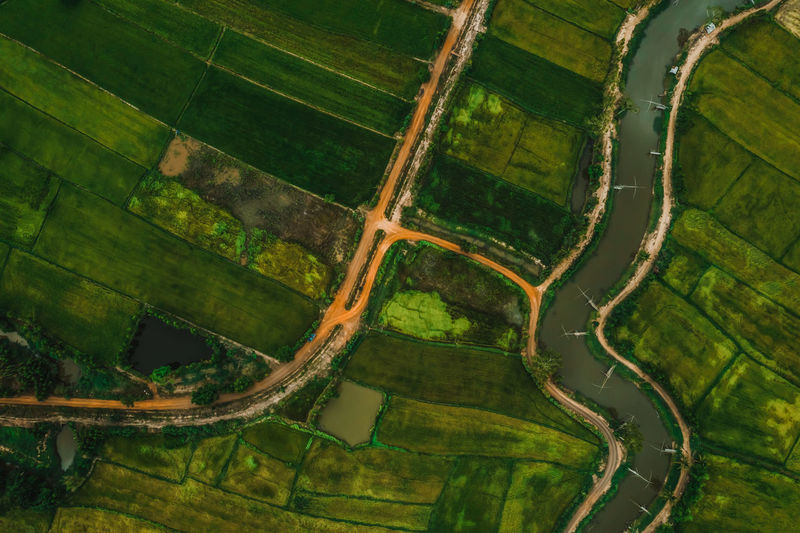 aerial view of road and devious river in a fields Environment Aerial View Landscape Scenics - Nature Beauty In Nature Rural Scene Field Patchwork Landscape Nature Tranquil Scene Tranquility Day Agriculture Land Farm Green Color Non-urban Scene Above Outdoors Water River Devious ASIA Asian  Green Color Nature Paddy Field Rice Paddy Rice Field Top View Countryside Road
