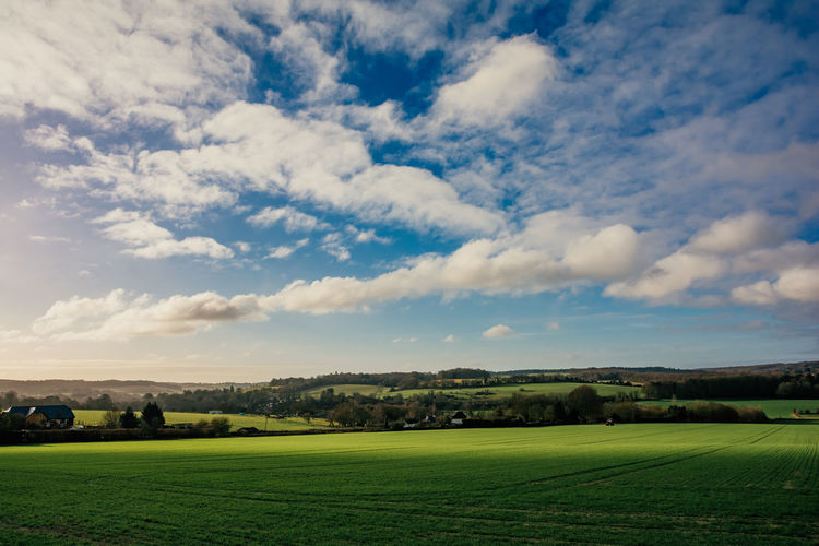Kentish Landscapes... Check This Out EyeEm Best Shots Gradient Sky Farming Backgrounds Tree Rural Scene Agriculture Sunset Field Sky Landscape Cloud - Sky Parallel Storm Cloud Lightning Sky Only Overcast Cloudscape Cultivated Land Blooming Terraced Field Growing Dramatic Sky Agricultural Field Plantation Stay Out