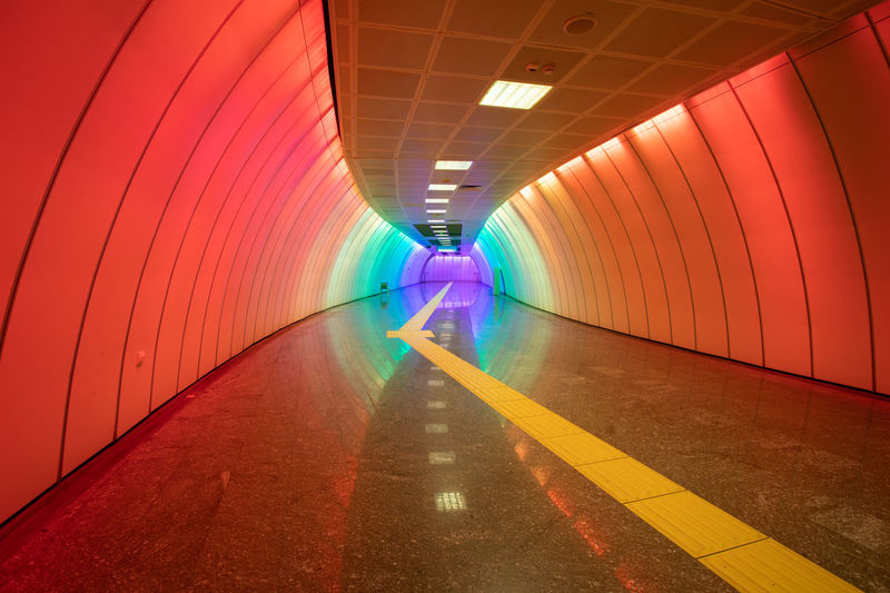 Interior of illuminated subway tunnel