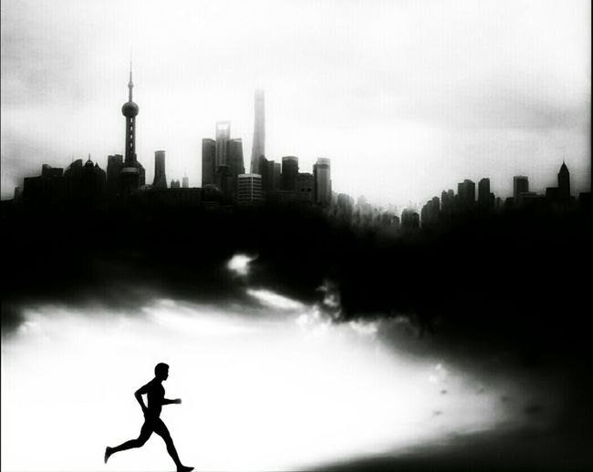 Running under the city. Fine Art Photography Shanghai, China Shanghai Streets Tree I Love Shanghai City Life Streetphotography Street Photography Cityscapes_collection Cityscapes Cityscape City Street Streetphoto_bw Light And Shadow Straight Lines Black And White Collection  Black And White Photography Black And White Contrast Thinking About Life Lonely Life Running People Running Battle Of The Cities Light And Shadows
