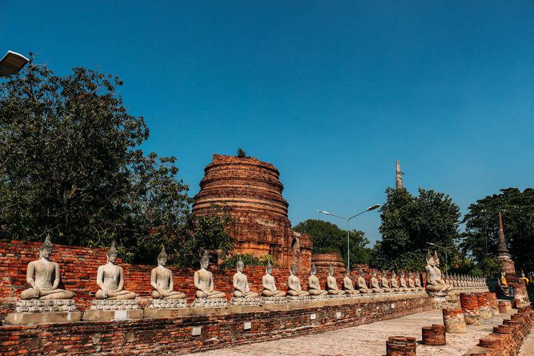 Temple against clear blue sky