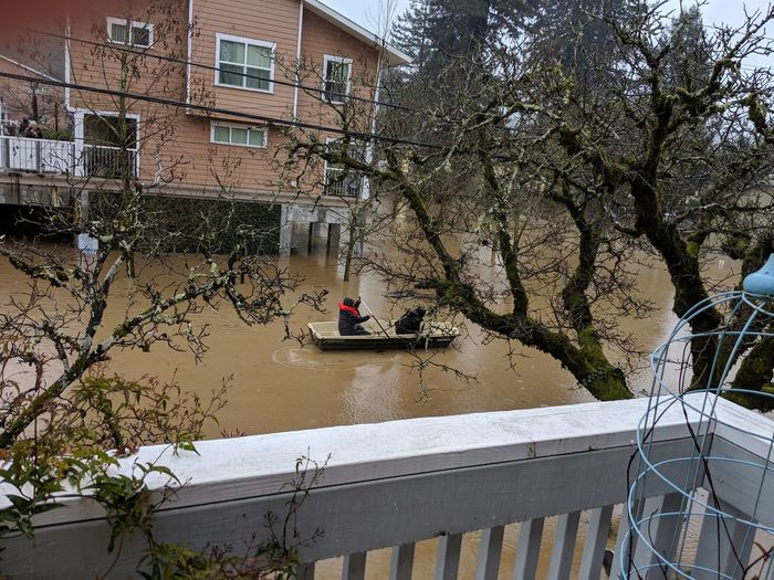 My flooded home this morning in Guernville, California Flood Boat Paddling Oars Dirty Flood Waters Devistation Loss Water Tree Water Architecture Sky Building Exterior Built Structure Boat