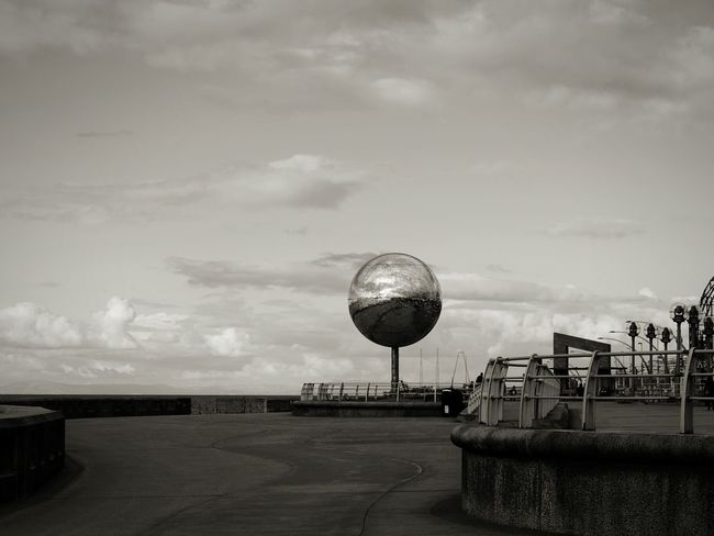 Blackpool Promenade Sea Front Seaside Outdoors Sky Cloud - Sky Sea Beach Sculpture Globe Mirror Reflections Wall Railing