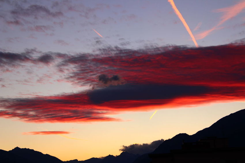 Sunset Red No People Outdoors Sky Vapor Trail Mountain Multi Colored Nature Tree Day