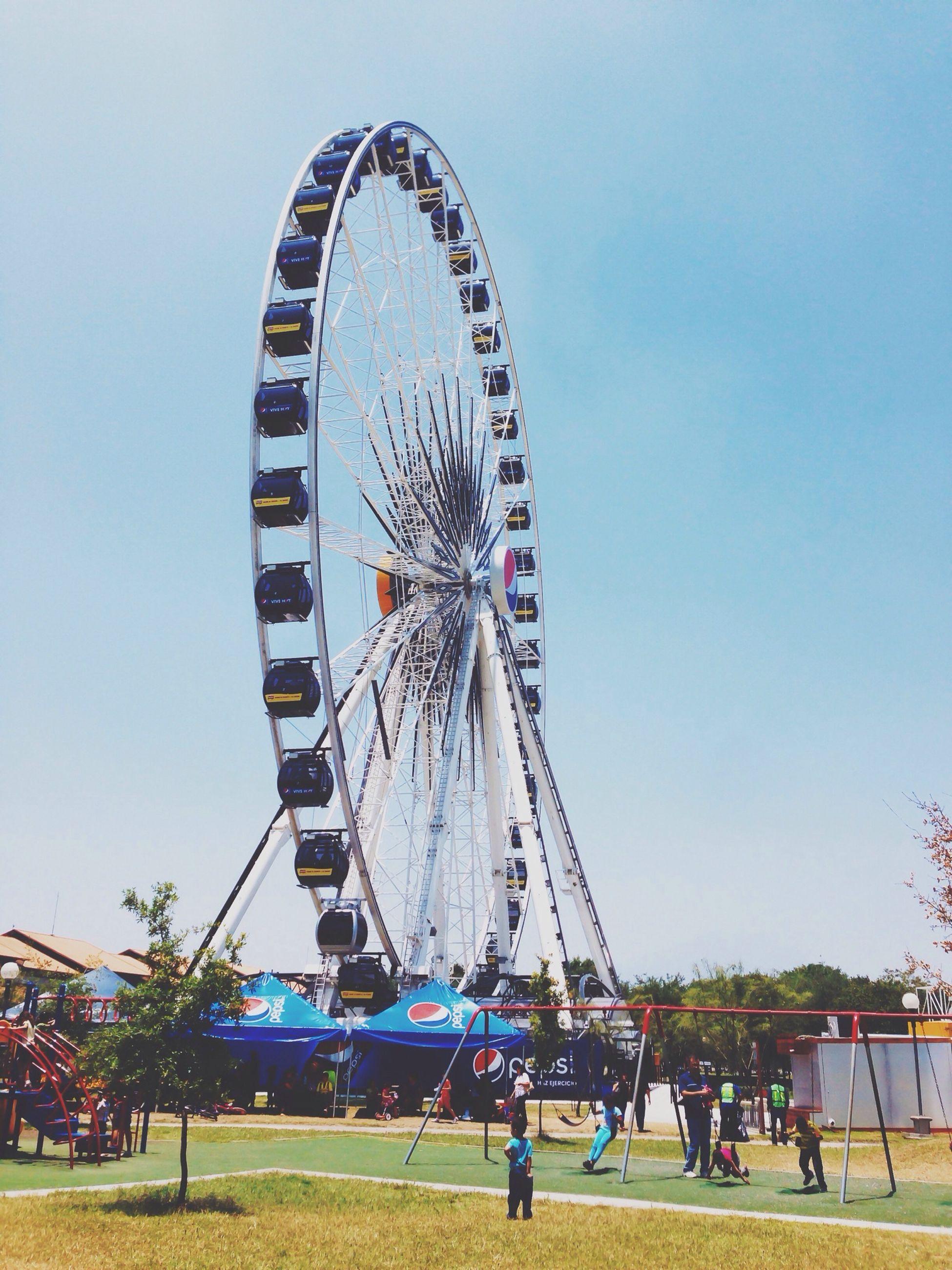 amusement park, amusement park ride, ferris wheel, arts culture and entertainment, leisure activity, large group of people, clear sky, men, lifestyles, fun, sky, person, travel, tourism, built structure, enjoyment, travel destinations, tree, transportation