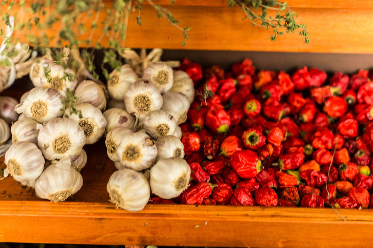 Close-up of various vegetables in shelf