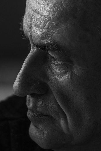 Close-up of man face looking away