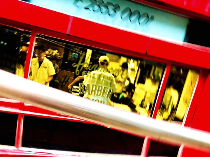 Barber shop Blur Streetphotography Urban Exploration Urban Barber Group Of People Text Architecture Indoors  Food And Drink Illuminated Red Men Real People Built Structure #urbanana: The Urban Playground