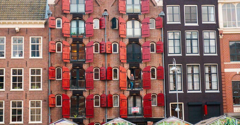 Full frame shot of red office building