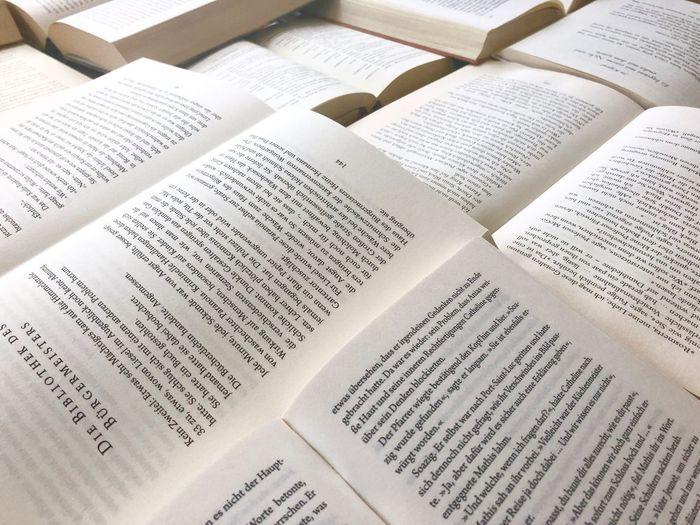 Bibliophilia Bücher  Bücherstapel Reading Bücherliebe Text Paper Publication Full Frame Book Communication Close-up Page Script Literature