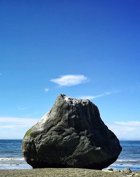 Boulder with cloud poof. Nature Beauty In Nature Blue Tranquility Tranquil Scene Sky Scenics Sea Geology Rock - Object Water Outdoors Day No People Horizon Over Water Pacific Northwest  Port Townsend Washington State Olympic Peninsula Boulder Nature