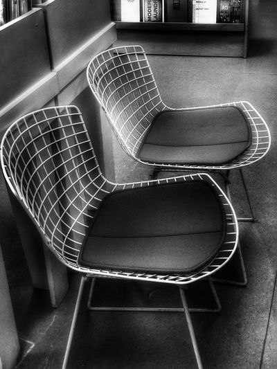 Bertoia Style chairs Art Metropole Urbanphotography Visualpoetry Streetphotography Chair Indoors  No People High Angle View Empty Architecture Seat Day Close-up