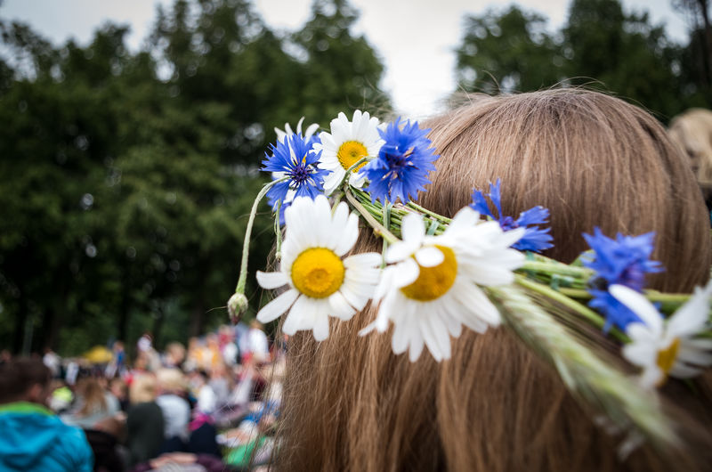 Girl wearing a floral head wreath. Blue Color Laulupidu 2017 Tallinn Woman Blond Hair Close-up Cornflower Crowd Floral Head Wreath Floral Wreath Flower Head Flowers Focus On Foreground Freshness Girl Head Wreath Headshot Lifestyles Nature One Person Outdoors Rear View White Color Wreath Yellow Color