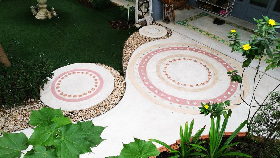 High Angle View Flower Day No People Outdoors Pave Walkwalk Architecture Pattern Close-up Garden Beauty In Nature Plant Nature Relax Relaxation Space