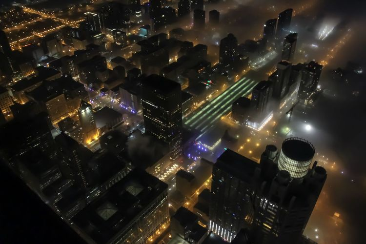 Foggy Chicago Chicago Night Illuminated No People Building Exterior Architecture Glowing City Cityscape Built Structure Long Exposure Building Lighting Equipment Modern Outdoors Sky High Angle View City Life Skyscraper Nightlife Architecture Foggy Foggy Morning Urban Urban Skyline
