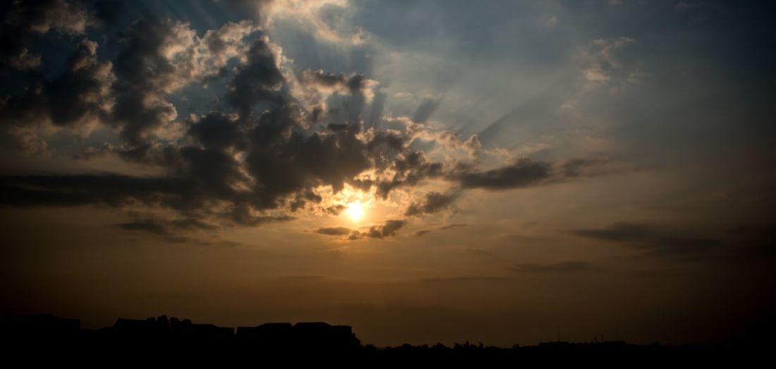 Sky Cloud - Sky Sunset Silhouette Beauty In Nature Scenics - Nature Tranquility No People Nature Tranquil Scene Dramatic Sky Orange Color Outdoors Idyllic Sunlight Awe Cloudscape Dark Dusk Environment
