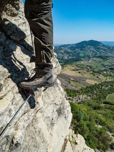 Adventure Appenninotoscoemiliano Blue Sky Challenge Cliff Climbing Climbing A Mountain Day Extreme Sports Hiking Low Angle View Low Section Men Mountain Mountain Range Nature One Man Only One Person Outdoors People On Mountains Real People RISK Rock - Object Rock Climbing Via Ferrata