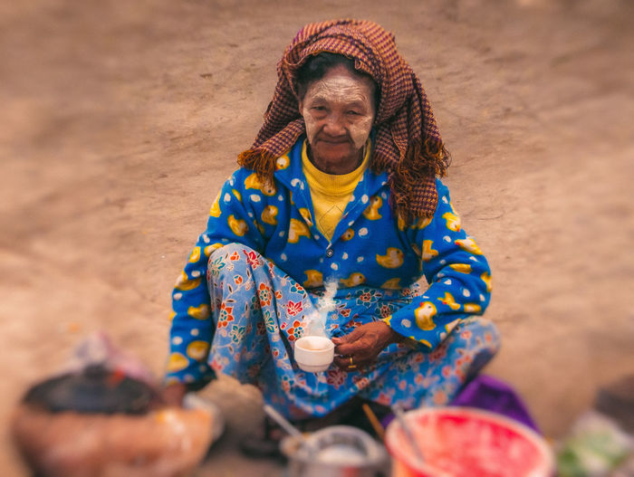 Burma-Inle People One Person Outdoors Real People Looking At Camera Streetphotography World Portrait Of A Woman People Photography People, Woman Global_ladies Burma Myanmar Adult Desert Rural Scene Sand Dune Adults Only Day