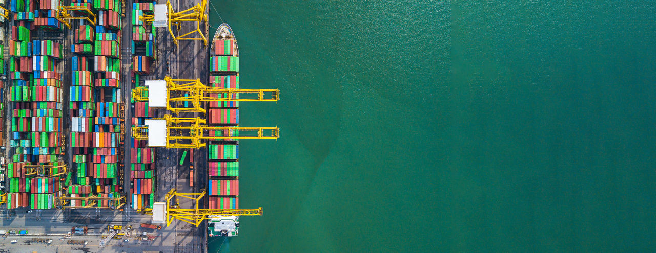 Directly above shot of cargo containers at harbor