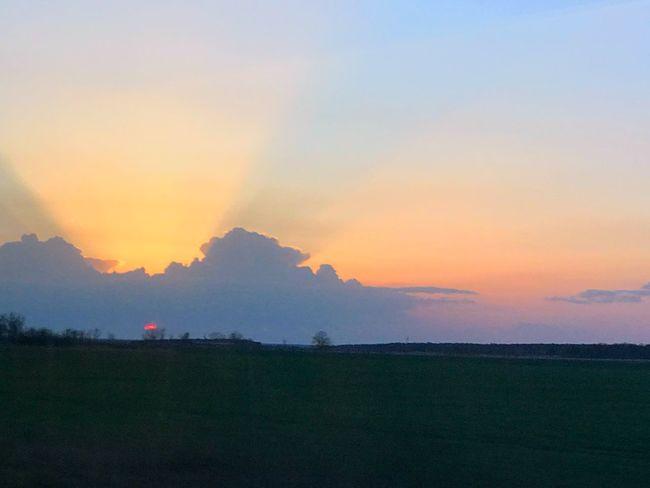 Train Clouds Sky Sunset Landscape Germany Train