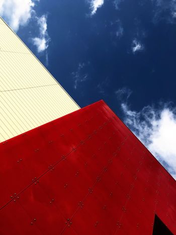 Sky Red Nature Cloud - Sky Architecture Built Structure Building Exterior Wall - Building Feature Sunlight Day Low Angle View Shape No People White Color Wall Outdoors Pattern Blue Triangle Shape
