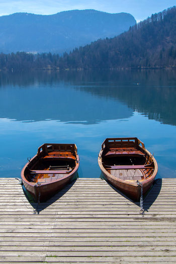 Boat moored on lake