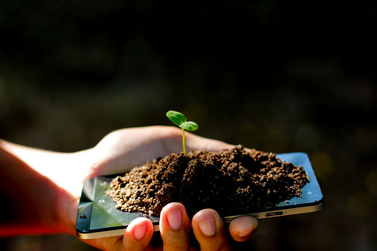Human Hand Nature Growth Tree Holding Plant Environmentalist Save The Nature Save Mobile Phone Smart Phone Dirt Close-up Day Oxygen Carbon Dioxide Environmental Damage Environmental Pollution Environmental Protection Seeds Growing Tree Technology Black Background Human Body Part