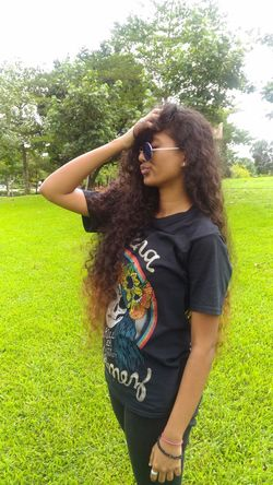 Happiness Sunlight Nature One Person Green Color Tree Curly Hair Leisure Activity Relaxation Outdoors Grass Hello World That's Me Confidence  Long Hair Vibes Model Let Your Hair Down Casual Clothing Model Vibes Taking Photos Hanging Out Check This Out