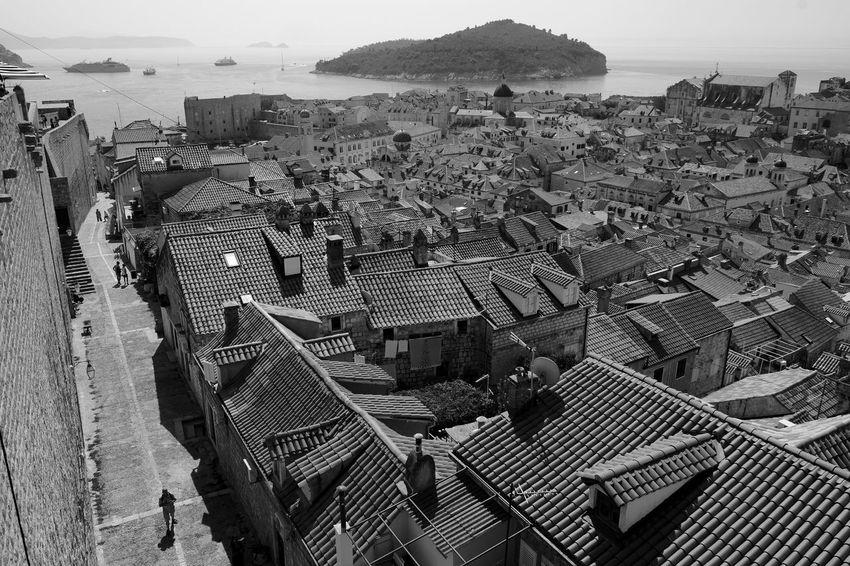 View of Dubrovnik from the old city walls Archineos Croatia Old City Walls Dubrovnik Ugo Villani Architecture B&n B&w Bianco E Nero Black And White Blanco Y Negro Croazia Dubrovnik Monochrome Photography Old City Outdoors Ragusa Sea Urban Landscape
