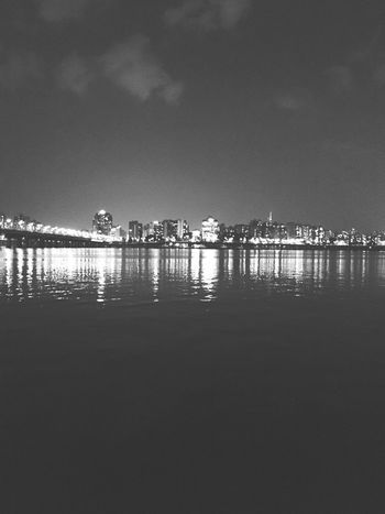 Hanriver Night River Black And White Calm Fluctuation Wave EyeEmNewHere Black And White Friday Black And White Friday