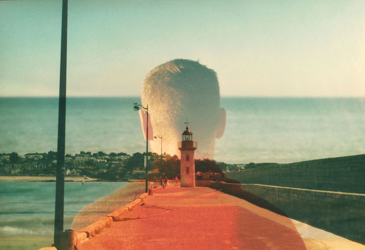 les balades à la mer. Sea Sky Outdoors Nature Sunlight Water No People Beauty In Nature Day Scenics Beach Gazebo Place Of Worship Erquy Portrait Double Exposure Argentic Analogue Photography Grain Film Photography Nikon Kodak Portra First Eyeem Photo